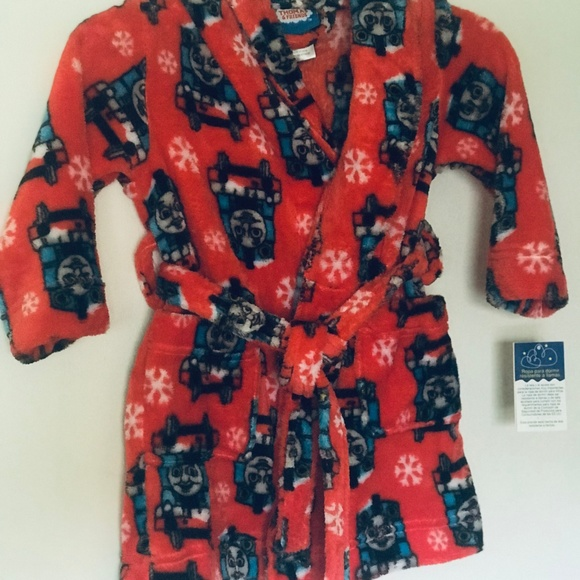 THOMAS THE TRAIN RED CHRISTMAS FLEECE ROBE SIZE 2T 3T 4T 5T NEW!